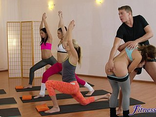 Horny yoga coach fucked Amy Peppery & Yenna Black in the gym