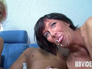 Two milfs suck coupled with fuck a hard gumshoe