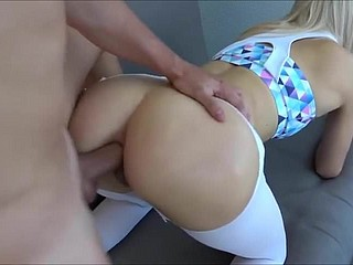 torn yoga pants anal creampie