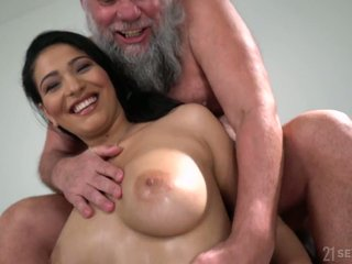 Plump plus titillating looker Ava Negro rides senior man's strong cock in excess of summit